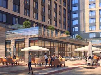 На первом этаже здания разместятся лобби-бар, ресторан, магазины